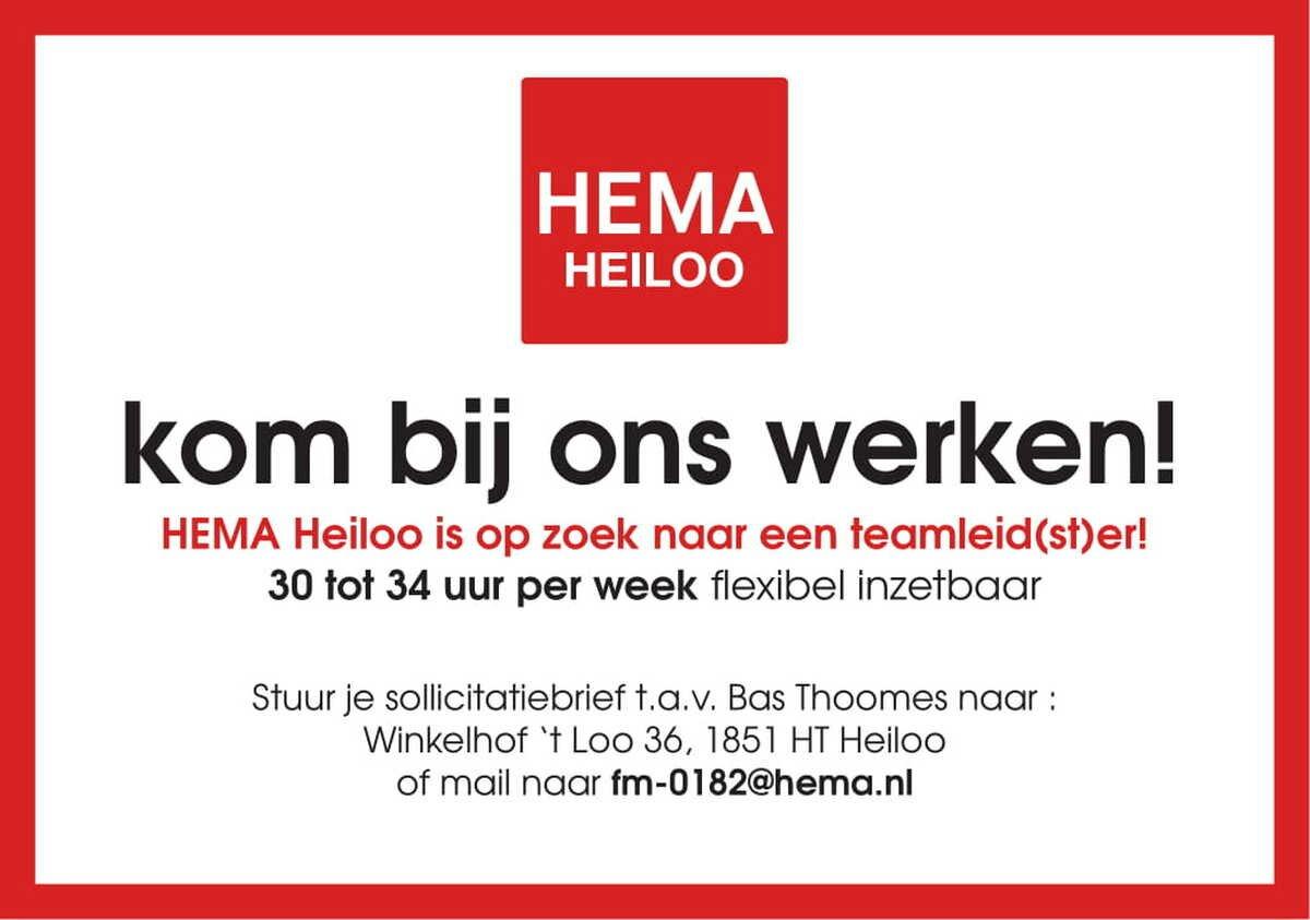 sollicitatiebrief hema HEMA Heiloo is op zoek naar een teamleid(st)er!   Castricumsdagblad.nl sollicitatiebrief hema